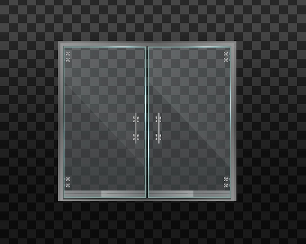 Glass door office or shopping center  on transparent background.