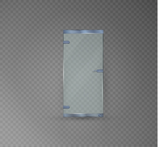 Glass door  on a transparent background.  illustration of a glossy office or boutique, transparent doors with shaped handle.silver edging.metal.