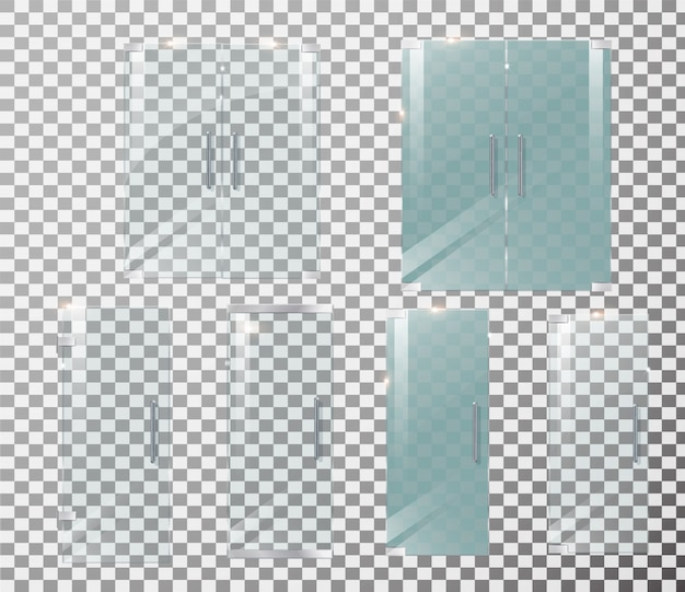 Glass door transparent. front for office or boutique. isolated on a transparent checkered background.
