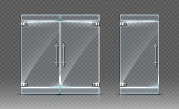 Стеклянные двери на прозрачном фоне. реалистичная иллюстрация
