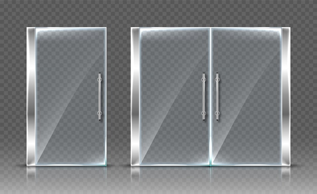 Glass doors  on transparent background.  realistic illustration