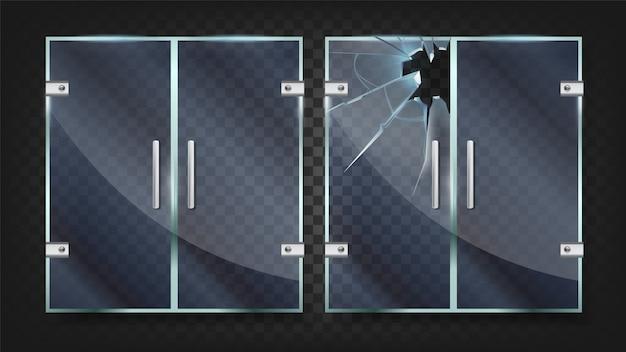Glass doors with silver handle and broken