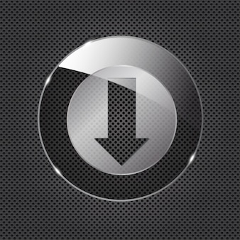 Glass download button icon on metal background. vector illustration..