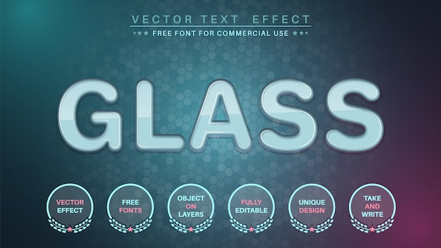 Glass編集テキスト効果編集可能なフォントスタイル