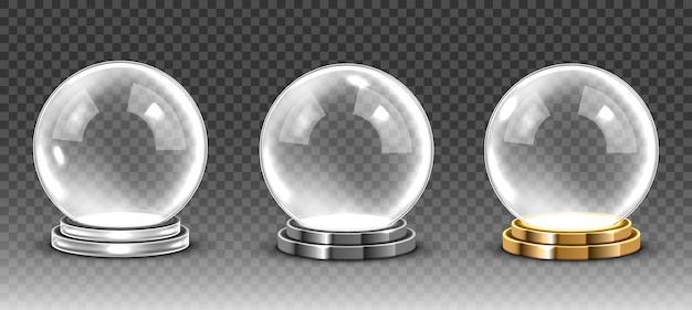 Стеклянный пустой волшебный шар. вектор прозрачный снежный шар