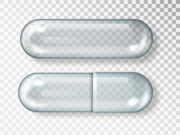 유리 빈 안전 캡슐 쇼케이스. 투명 한 배경에 고립 된 빈 약 캡슐 알 약입니다.