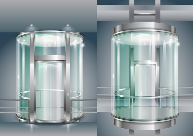 Glass enclosed elevator