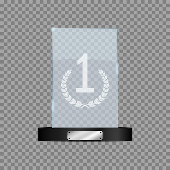 Glass first place award realistic mockup of rectangular winners trophy on transparent background