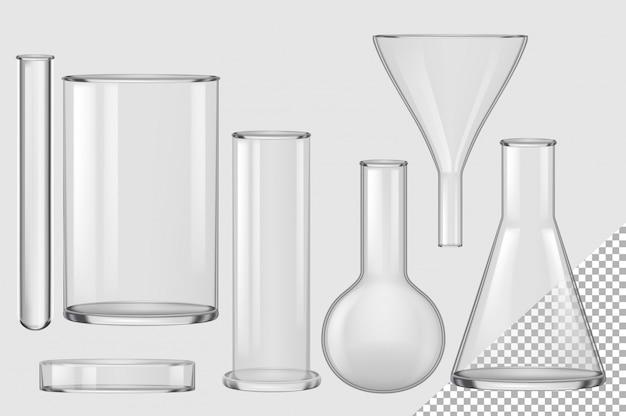 ガラスフラスコ。現実的な空のケミカルフィルターファネル、電球、試験管、ビーカー、シャーレコレクション。化学と生物学の実験室のガラスフラスコガラス製品機器