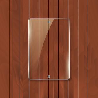 木製テクスチャ背景のガラスフレーム。ガラスフレームワークのバナーデザイン