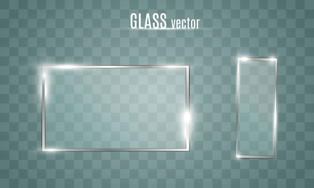 Glass frame. window, mirror. transparent window with a frame. glare on a flat, glassed frame.