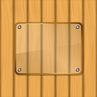 Glass frame on wooden background