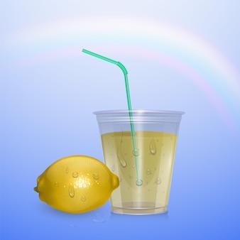 Glass of fresh lemonade of realistic style