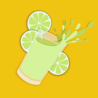 Glass of fresh lime juice paper art style. fruit and vegetable drinks are good for your li