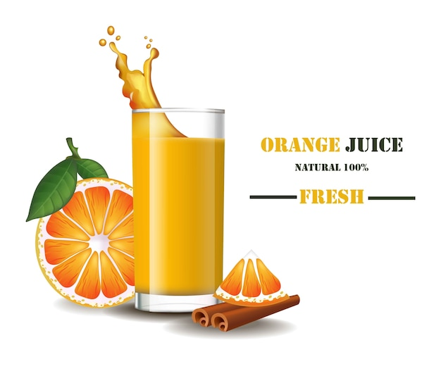 A glass of fresh orange juice with splash realistic illustrations mock up