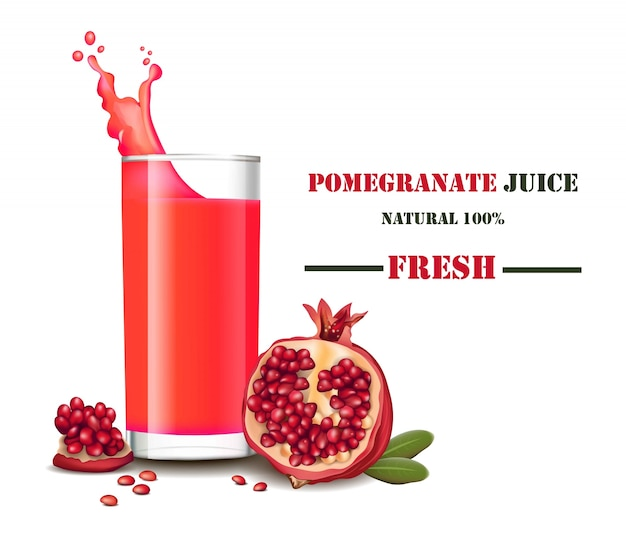 A glass of fresh pomegranate juice with splash realistic illustrations mock up
