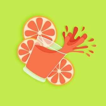 Glass of fresh red orange juice paper art style. fruit and vegetable drinks are good for y