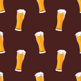 Glass full with beer and foam seamless pattern
