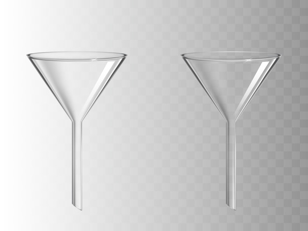 Glass funnel isolated on transparent