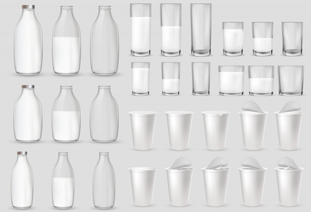 Glass glasses, bottle, plastic cups, packages