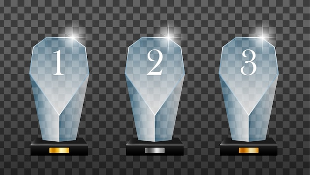Glass golden, silver and bronze winner podium plate with mirror reflection. winner glass trophy. first place award, crystal prize and signed acrylic trophies.