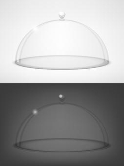 ガラスの半球の黒と白のふた