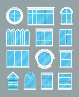Glass home windows types vector flat icons