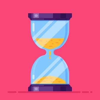 Glass hourglass on a red . flat  illustration.
