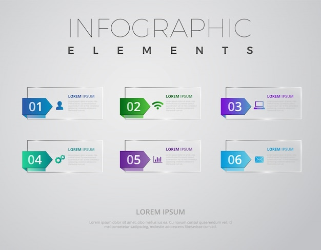 Glass infographic elements design template