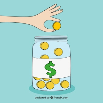 Glass jar background with coins