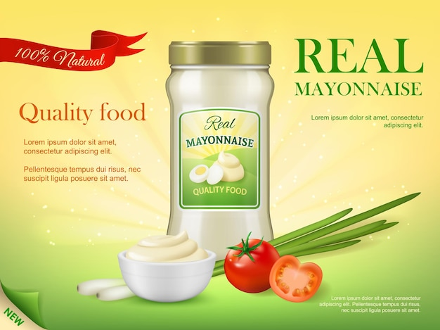 Glass jar of mayonnaise sauce. natural mayonnaise promo banner template with realistic vector fresh tomatoes, onion or garlic, mayo sauce in white ceramic bowl and chicken eggs on glass bottle label