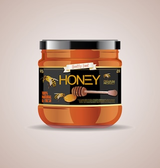 Glass jar mock up honey jam package design