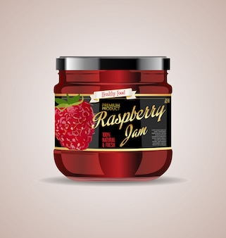 Glass jar mockup raspberry jam package design
