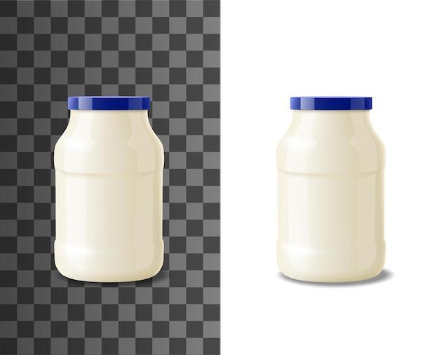 Стеклянная банка майонеза, реалистичная упаковка продуктов питания. вектор горшок или бутылка-контейнер с майонезом, изолированная стеклянная банка для белого соуса с синей крышкой или с завинчивающейся крышкой, пакет пищевых приправ