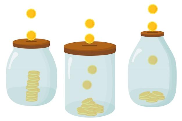 お金のガラスの瓶。銀行に1ドル硬貨を保存します。透明な背景に白のコインがいっぱい入った瓶。バナー、ポスター、ウェブサイト、銀行、ゲームの要素。図。