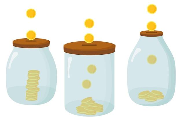 돈의 유리 항아리. 은행에 달러 동전 저장
