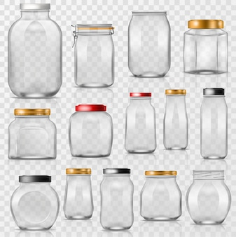 Glass jar vector empty mason glassware with lid or cover for canning and preserving illustration glassful set of container or cuppingglass isolated on transparent