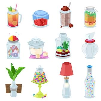 ガラス瓶ベクトルジャムまたはふた付きのメイソングラスで甘いゼリーまたは缶詰およびイラストガラスのセットのコンテナーまたは白い背景で隔離のジュースとカッピンググラスを保持するためのカバー