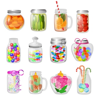Glass jar vector jam or sweet jelly in mason glassware with lid or cover for canning and preserving illustration glassful set of cupping glass with conservation isolated.