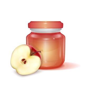 アップルジャムのイラストとガラスの瓶