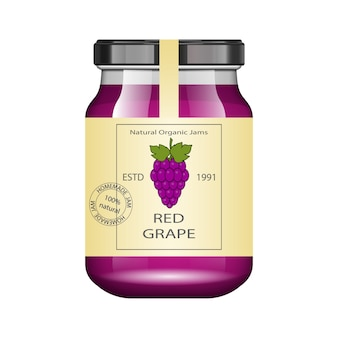 Glass jar with grape jam and configure.  packaging collection. vintage label for jam. bank realistic.