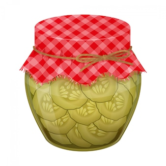 Glass jar with home made cucumbers. realistic style.