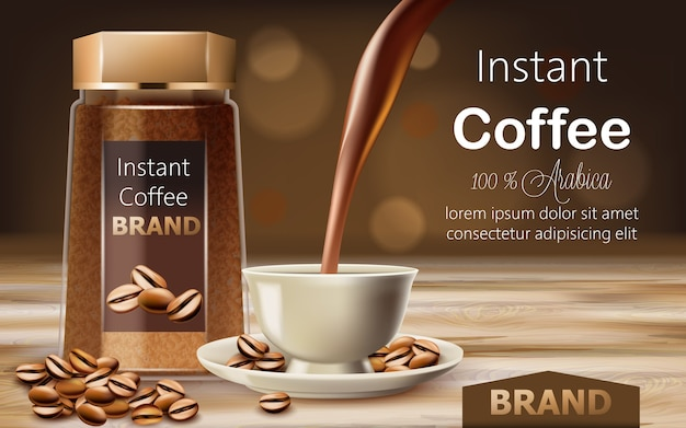 Стеклянная банка с растворимым кофе арабика с обжаренными зернами вокруг и чашка с жидкостью, льющейся сверху. место для текста.