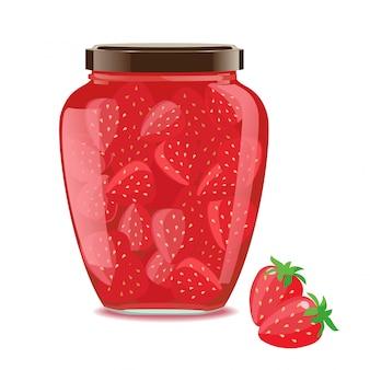 Glass jar with strawberry jam.