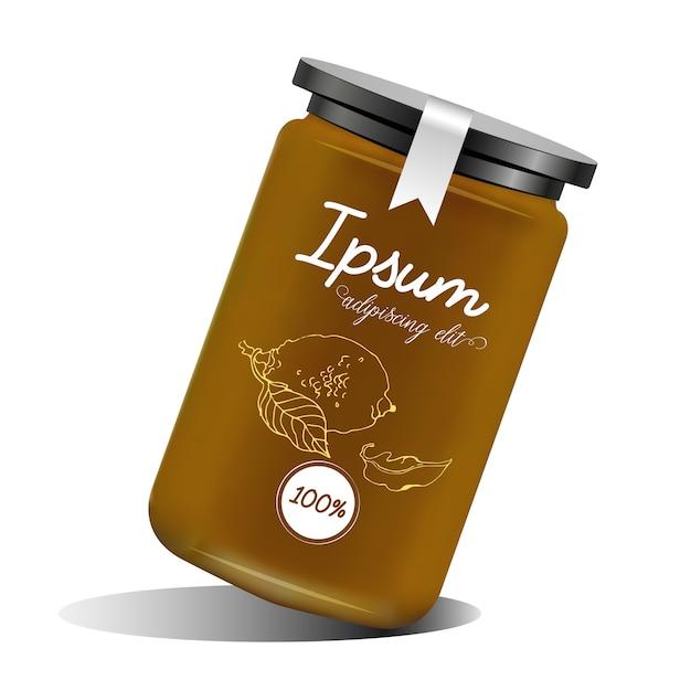 잼, confiture 또는 라벨 디자인이있는 꿀이있는 유리 용기