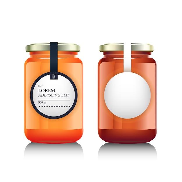 잼 또는 꿀 및 라벨 디자인이있는 유리 용기