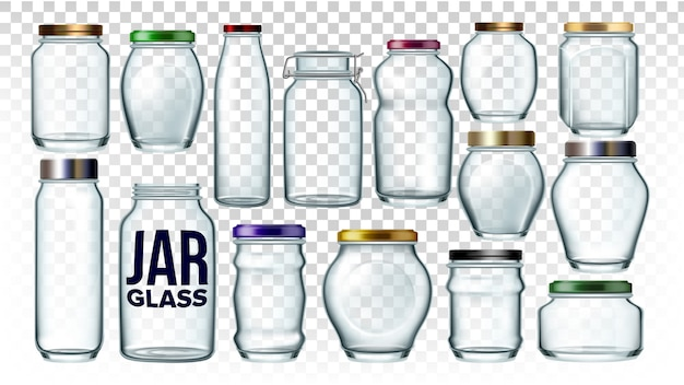 Glass jars collection in different form set