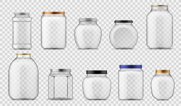 유리 병. 금속 및 플라스틱으로 다양한 크기의 빈 투명 용기, 식품 통조림 및 보관용 나사 캡, 반사 그림자 템플릿이 있는 투명한 배경의 현실적인 벡터