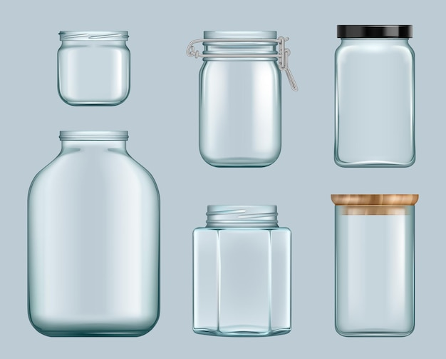 Стеклянные банки. контейнеры для варенья продукта прозрачные бутылки для жидкостей консервы для вектора полок. иллюстрация стеклянная банка для консервирования, закрытая тара пустая бутылка