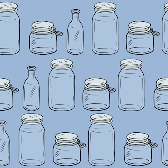 Glass jars seamless pattern.